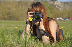 Le fille-photographe Photo stock