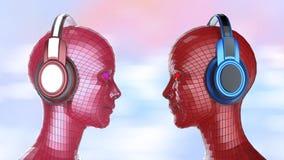 Le fille-robot coloré de la disco deux se dirige avec les yeux brillants dans de grands écouteurs se faisant face, Photo libre de droits