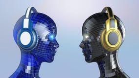 Le fille-robot coloré de la disco deux se dirige avec les yeux brillants dans de grands écouteurs se faisant face, Images libres de droits