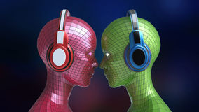 Le fille-robot coloré de la disco deux se dirige avec les yeux brillants dans de grands écouteurs se faisant face, Photo stock