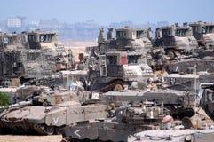 Le film encreur force des réservoirs et des véhicules armés en dehors de bande de Gaza Images stock