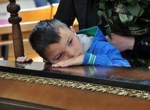 Le fils dit au revoir à son father_2 Image libre de droits