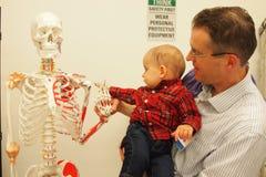 Le fils du ` s de docteur rencontre un squelette Images libres de droits