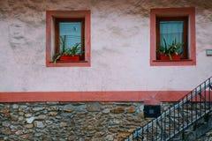 Le finestre nella facciata immagine stock
