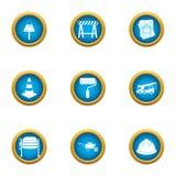 Le finissage des icônes de bâtiment a placé, style plat illustration de vecteur