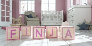 Le finja de nom écrit avec les cubes en bois en jouet chez la pièce du ` s des enfants Photos stock
