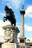 Le fléau du Nelson domine le grand dos de Trafalgar Images libres de droits