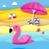 Le flamant rose gonflable géant en papier a coupé le style Parasol de plage - parapluie Jouet de flotteur de piscine d'origami su Illustration de Vecteur
