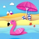 Le flamant rose gonflable géant en papier a coupé le style Parasol de plage - parapluie Jouet de flotteur de piscine d'origami su illustration stock
