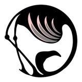 Le flamant stylized le symbole ou le logo en cercle Photos stock