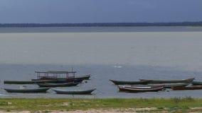 Le fleuve Amazone avec de petits bateaux banque de vidéos