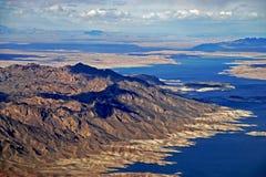 Le fleuve Colorado, vue d'hélicoptère Photo libre de droits