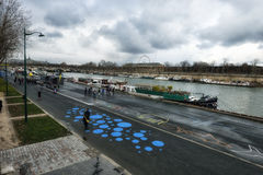 Le fleuve de Seine à Paris Photos libres de droits