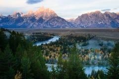 Le fleuve de serpent donnent sur, le Wyoming image stock
