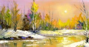 Le fleuve en bois sur un déclin Image stock