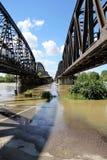 Le fleuve Pô en inondation - pont de Crémone Images libres de droits