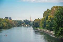 Le fleuve Pô et la taupe Antonelliana, Turin Photographie stock libre de droits