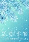 Le flocon de neige schéma 2016 sur la branche d'arbre congelée par neige Image libre de droits
