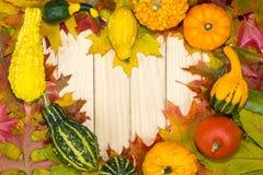 Le foglie autunnali e le zucche che si trovano nel cuore modellano sui bordi di legno Fotografia Stock