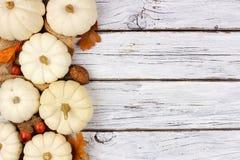 Le foglie bianche di marrone e della zucca parteggiano confine sopra legno bianco Fotografia Stock Libera da Diritti
