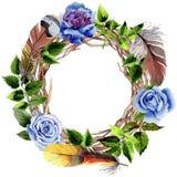 Le foglie della rosa si avvolgono in uno stile dell'acquerello Fotografia Stock Libera da Diritti
