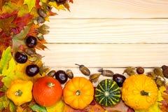 Le foglie e le zucche autunnali si trovano sui bordi di legno Fotografie Stock Libere da Diritti