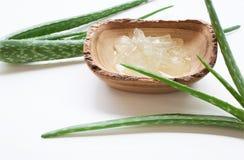 Le foglie fresche di vera dell'aloe con aloe vera si gelificano sul piatto di legno sul whi Fotografie Stock
