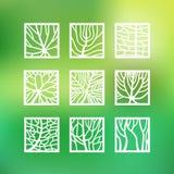 Le foglie nello stile del profilo per l'ecologia e la botanica progettano illustrazione vettoriale