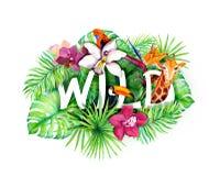 Le foglie tropicali, i fiori esotici, animali della giungla, segna selvaggio con lettere watercolor Immagini Stock