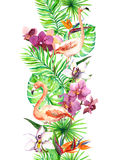 Le foglie tropicali, l'uccello del fenicottero, orchidea fiorisce Bordo senza giunte Struttura dell'acquerello Fotografie Stock Libere da Diritti