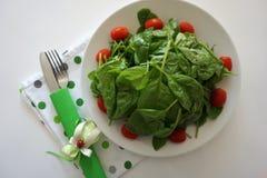 Le foglie verdi organiche fresche degli spinaci sono servito sul piatto Alimento sano e concetto di cibo fotografia stock libera da diritti