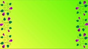 Le foglie verdi porpora dei fiori arricciano su un fondo giallo verde illustrazione di stock