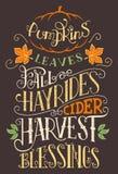 Le foin de chute de feuilles de potirons monte le signe de typographie illustration libre de droits