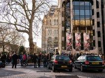 Le folle allineano per l'ammissione al museo di storia naturale, Londra, Inghilterra, Regno Unito, durante la settimana di Natale Fotografia Stock Libera da Diritti