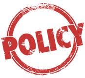 Le fonctionnaire rond de timbre de Word de politique ordonne la conformité de directives Images stock