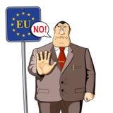 Le fonctionnaire, un bureaucrate Contrôle aux frontières, immigration, politique ou sciences économiques d'UE interdiction Non illustration libre de droits