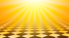 Le fond à carreaux d'abrégé sur plancher avec le soleil jaune a éclaté la couleur Photographie stock