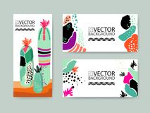 Le fond à la mode abstrait d'illustration, plaquette, usine succulente de cactus stylisé floral, dénomment l'appartement et les é Photos stock