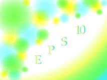 Le fond abstrait avec les cercles brouillés et les lignes verdissent, jaune et couleurs de bleu Photos libres de droits
