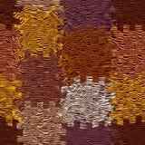 Le fond abstrait de tissu avec le grunge a barré et a ondulé les éléments carrés Photographie stock