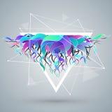 Le fond abstrait de vecteur avec la triangle et la couleur ondulent Image stock