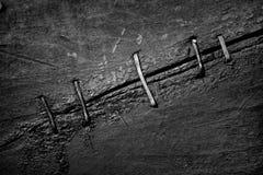 Le fond abstrait de vieilles surfaces en bois lancées a attaché avec Photos stock