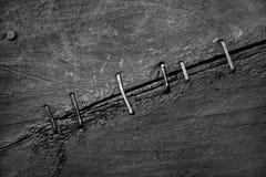 Le fond abstrait de vieilles surfaces en bois lancées a attaché avec Image libre de droits