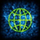 Le fond abstrait est code binaire et globe Photos stock