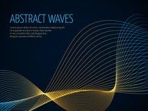 Le fond abstrait futuriste de vecteur avec 3D a illuminé l'onde sonore Photographie stock libre de droits