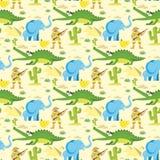 Le fond animal sans couture de reptile de faune de modèle avec des caractères de crocodile d'éléphant de cirque dirigent l'illust Illustration Stock