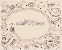 Le fond avec des bonbons et les gâteaux pour le menu conçoivent Photo libre de droits
