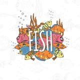 Le fond avec différents poissons colorés et le mot pêchent Image libre de droits