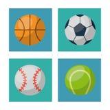 Le fond blanc avec des places a placé de la boule du base-ball et du tennis du football de basket-ball Illustration de Vecteur