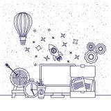 Le fond blanc avec la silhouette bleue de la cible chaude de ballon à air de fusée d'espace d'horloge d'ordinateur documente des  Images stock